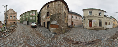 Banská Štiavnica - ruins of a synagogue by the crossing of Strieborná and Novozamocká streets.  Click to view this panorama in new fullscreen window