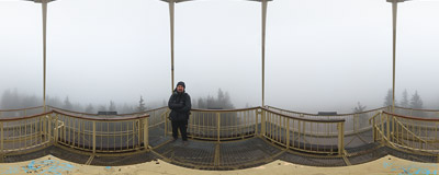On the steel viewing tower on the summit of Barania Góra (1220 m) in the Beskid Śląski Mountains.  Click to view this panorama in new fullscreen window