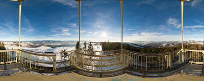 Marvellous circular panoramas on a winter day on the viewing tower on the summit of Barania Góra (1220 m) in the Beskid Śląski Mountains.  Click to view this panorama in new fullscreen window