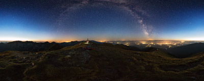 Under the Milky Way on the summit of Baranec (2184 m) in the Western Tatra Mountains.  Click to view this panorama in new fullscreen window