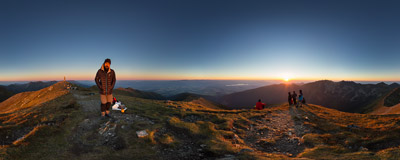 Watching the sunset on the summit of Baranec (2184 m), the third highest peak of the Western Tatra Mountains.  Click to view this panorama in new fullscreen window