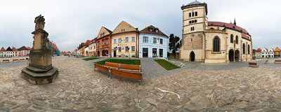 By the Basilica of St. Egidius on the Old Town Square in Bardejov.  Click to view this panorama in new fullscreen window