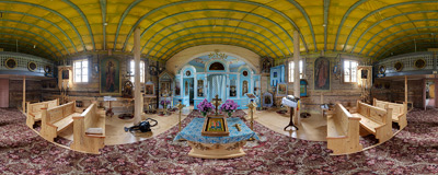 Inside the Eastern Orthodox church of Saints Cosmas and Damian, built in 1928 in Bartne, Southern Poland.  Click to view this panorama in new fullscreen window