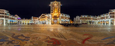 Piazza Square, a prime example of new architecture of the seaside city of Batumi, Georgia.  Click to view this panorama in new fullscreen window
