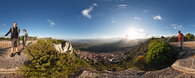 A fabulous viewpoint high above the town of Baunei in east Sardinia.  Click to view this panorama in new fullscreen window
