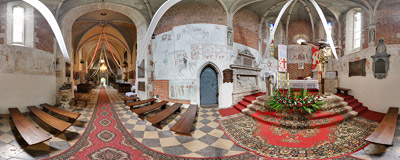 Inside the Gothic church of St. Nicholas in Bejsce.  Click to view this panorama in new fullscreen window