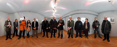 "Schoolfriends' meeting at the opening of ""(Be)Longing"", a photo exhibition by Rafał Łukawiecki.  Click to view this panorama in new fullscreen window"