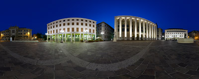 Freedom Square (Piazza della Libertà) in the lower part of Bergamo, Italy.  Click to view this panorama in new fullscreen window
