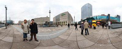 On Alexanderplatz, in the centre of former East Berlin, hotdogs are sold by the underground exit for 1.20 euro.  Click to view this panorama in new fullscreen window