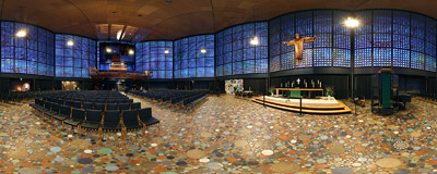 Inside the new Kaiser William Memorial Church (Kaiser-Wilhelm-Gedächtnis-Kirche) on Breitscheidplatz in Berlin, Germany.  Click to view this panorama in new fullscreen window