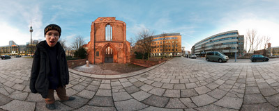 Klosterstrasse street in Berlin.  Click to view this panorama in new fullscreen window