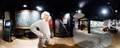 Albert Einstein in Madame Tussauds museum in Berlin; nearby you can see Sigmund Freud.  Click to view this panorama in new fullscreen window