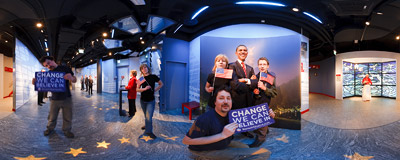 The wax figure of Barack Obama in Madame Tussauds museum in Berlin.  Click to view this panorama in new fullscreen window