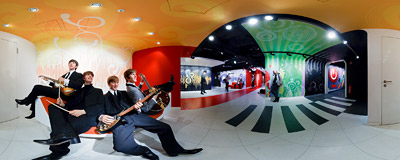 The Beatles in Madame Tussauds wax figures museum in Berlin.  Click to view this panorama in new fullscreen window