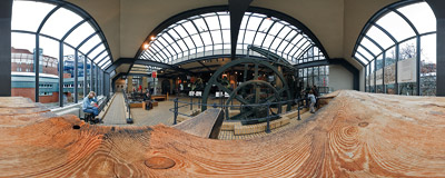 Deutsches Technikmuseum in Berlin: a steam engine from 1859.  Click to view this panorama in new fullscreen window