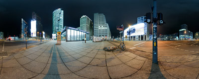 Berlin: Potsdamer Platz at night.  Click to view this panorama in new fullscreen window