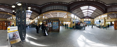 The ground level entrance hall of the Wittenbergplatz underground station in Berlin.  Click to view this panorama in new fullscreen window