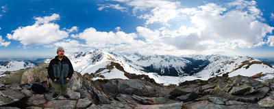On the summit of Beskid (2012 m) in the Tatra Mountains.  Click to view this panorama in new fullscreen window