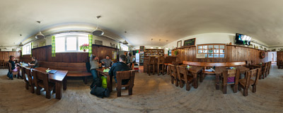 Sampling local beers on a lazy Saturday in the Beskydský pivovárek microbrewery in Ostravice, Czech Republic.  Click to view this panorama in new fullscreen window