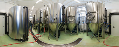 Among the unitanks of the Beskydský pivovárek microbrewery in Ostravice, Czech Republic.  Click to view this panorama in new fullscreen window