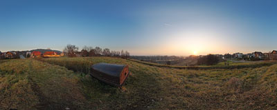 Steel observation dome in Bielany Fort in Kraków.  Click to view this panorama in new fullscreen window