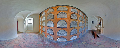 A crypt under the Camaldolese monastery church in Bielany, Kraków.  Click to view this panorama in new fullscreen window