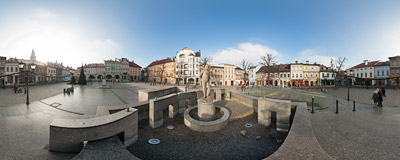 The fountain of Neptune on the Town Square in Bielsko-Biała, Poland.  Click to view this panorama in new fullscreen window