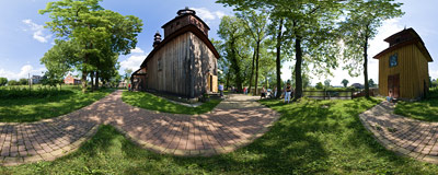 The Baroque wooden church of the Assumption of the Blessed Virgin Mary in Biórków Wielki, built in 1633.  Click to view this panorama in new fullscreen window