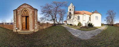 The church of St. Martin in Biskupice, SE of Kraków.  Click to view this panorama in new fullscreen window