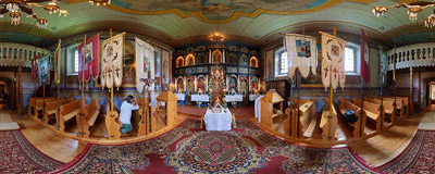 Inside the 19th century tserkva of Saints Cosmas and Damian in Blechnarka.  Click to view this panorama in new fullscreen window