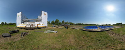 Site construction for Pope's meeting with youth.  Click to view this panorama in new fullscreen window