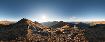 The summit of Błyszcz (Blyšť, 2159 m) in the main ridge of the Western Tatra Mountains.  Click to view this panorama in new fullscreen window