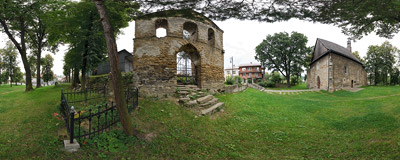 15th century Gothic church of Saint Sophia in Bobowa.  Click to view this panorama in new fullscreen window