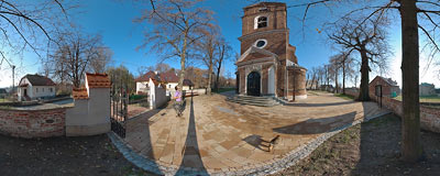In front of St. Peter's and St. Paul's church in Bolechowice (13-20th century).  Click to view this panorama in new fullscreen window