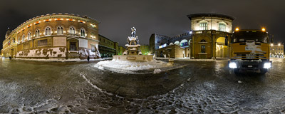 The Fountain of Neptune (Fontana di Nettuno), a monumental civic fountain located in Piazza Nettuno, next to Piazza Maggiore in Bologna, Italy.  Click to view this panorama in new fullscreen window