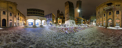 The Two Towers of Bologna, Italy, in the middle of a snowy night.  Click to view this panorama in new fullscreen window