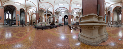 Inside the Basilica of San Petronio, the main church of Bologna, Italy.  Click to view this panorama in new fullscreen window