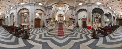Inside the Cathedral of the Immaculate Conception in Bosa, Sardinia, Italy.  Click to view this panorama in new fullscreen window