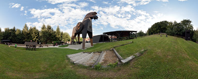 The biggest wooden horse in the world: Bouzov, Czech Republic.  Click to view this panorama in new fullscreen window