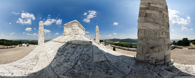 The monument of General Milan Rastislav Štefánik on the summit of Bradlo (543 m) in Western Slovakia.  Click to view this panorama in new fullscreen window