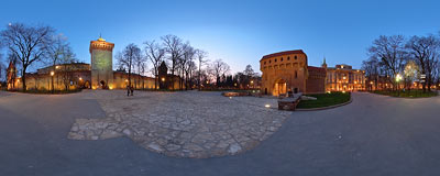 Kraków - between the Floriańska Gate and the Barbican.  Click to view this panorama in new fullscreen window