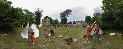 Camp of medieval warriors during the 4th Archeological Picnic in Branice.  Click to view this panorama in new fullscreen window