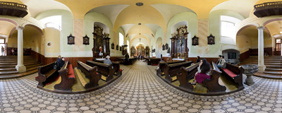 The 18th century Capuchin church of Saint Stephen in Bratislava.  Click to view this panorama in new fullscreen window