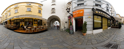 Michalská ulica (St. Michael's Street) in Bratislava Old Town.  Click to view this panorama in new fullscreen window