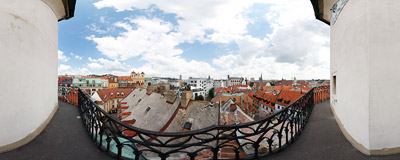 View of Bratislava Old Town from Michalská veža (St. Michael's Tower).  Click to view this panorama in new fullscreen window