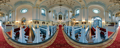 Inside the Blue Church in Bratislava.  Click to view this panorama in new fullscreen window