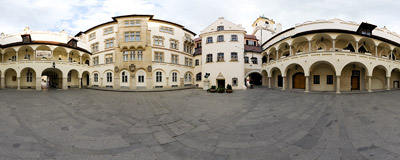 On the courtyard of the Old Town Hall in Bratislava.  Click to view this panorama in new fullscreen window