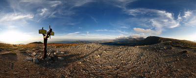 Half an hour before sunset on the summit of Brestová (1934 m) in Slovak Tatra mountains.  Click to view this panorama in new fullscreen window