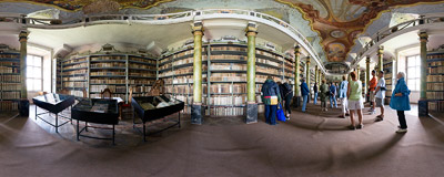 The library of the Benedictine abbey in Broumov.  Click to view this panorama in new fullscreen window