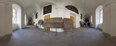 Cloisters of the Benedictine abbey in Broumov.  Click to view this panorama in new fullscreen window